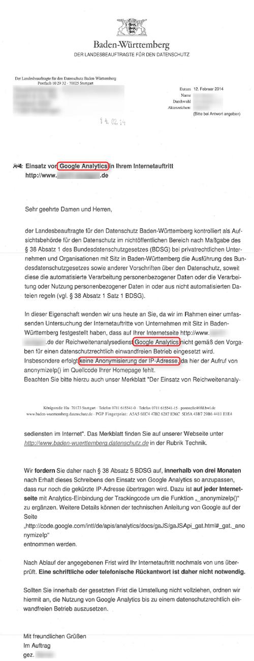 Google Analytics Datenschutzbeauftragter Baden Wuerttemberg