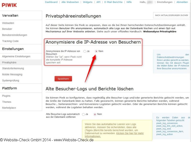 PIWIK IP-Adresse Anonymisierung