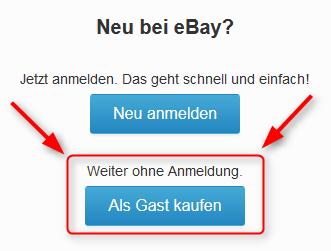 Ebay Warenkorb als Gast kaufen Buttons 02