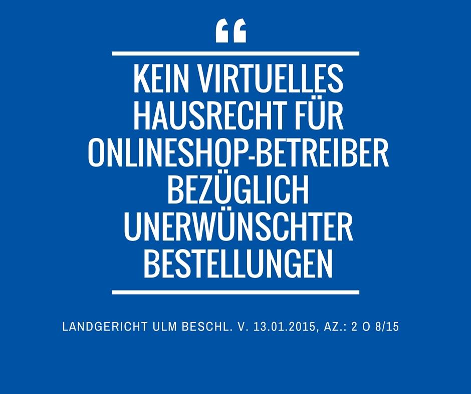Landgericht Ulm Beschl v 13 01 2015 Az 2 O 8 15