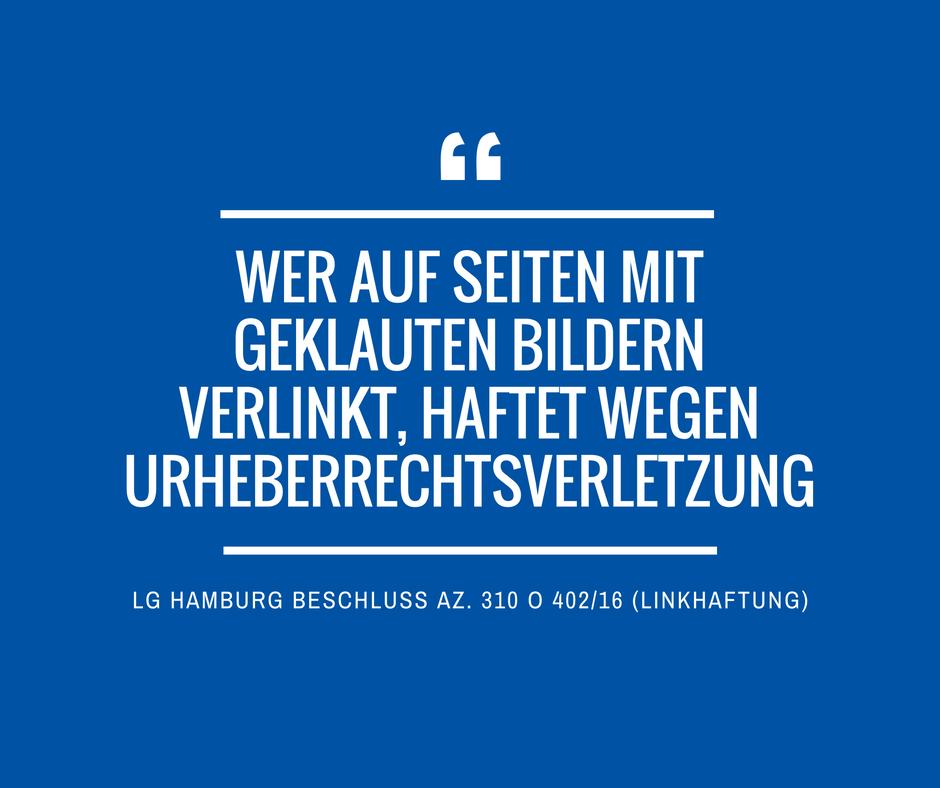 LG Hamburg Az 310 O 40216 Linkhaftung