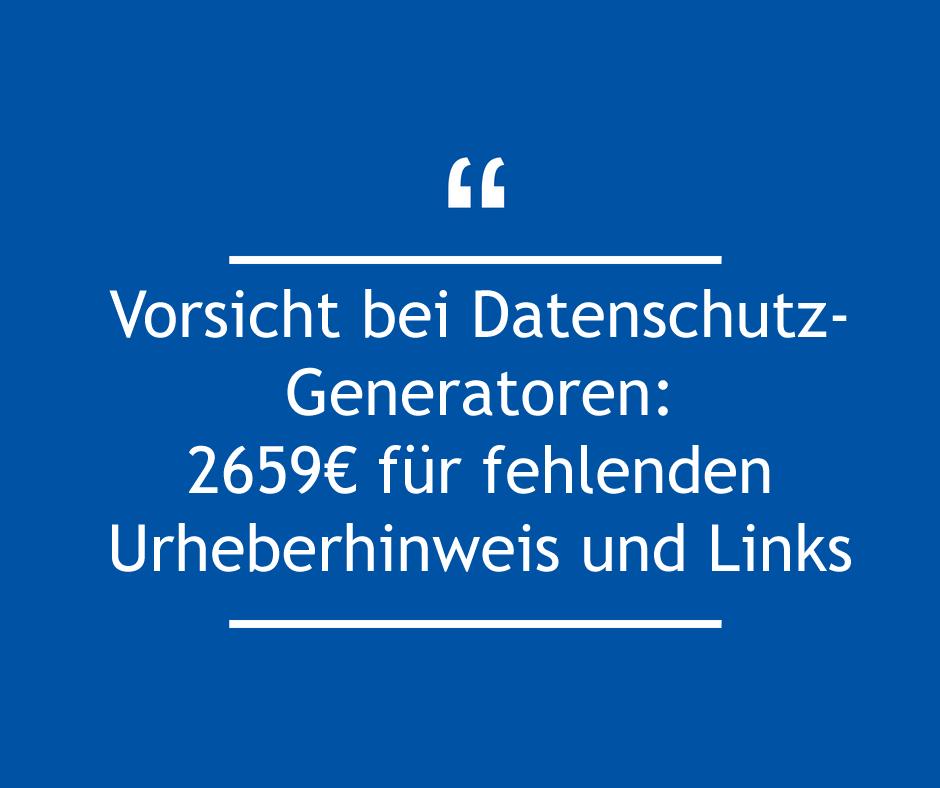 Vorsicht bei Datenschutz-Generatoren