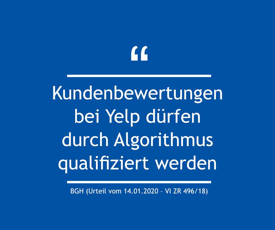 Kundenbewertungen bei Yelp dürfen durch Algorithmus qualifiziert werden