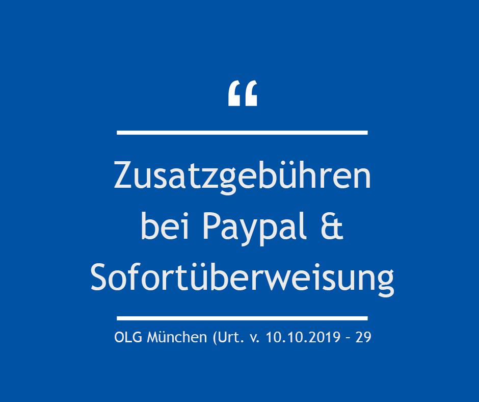 Zusatzgebühren bei Paypal & Sofotüberweisung