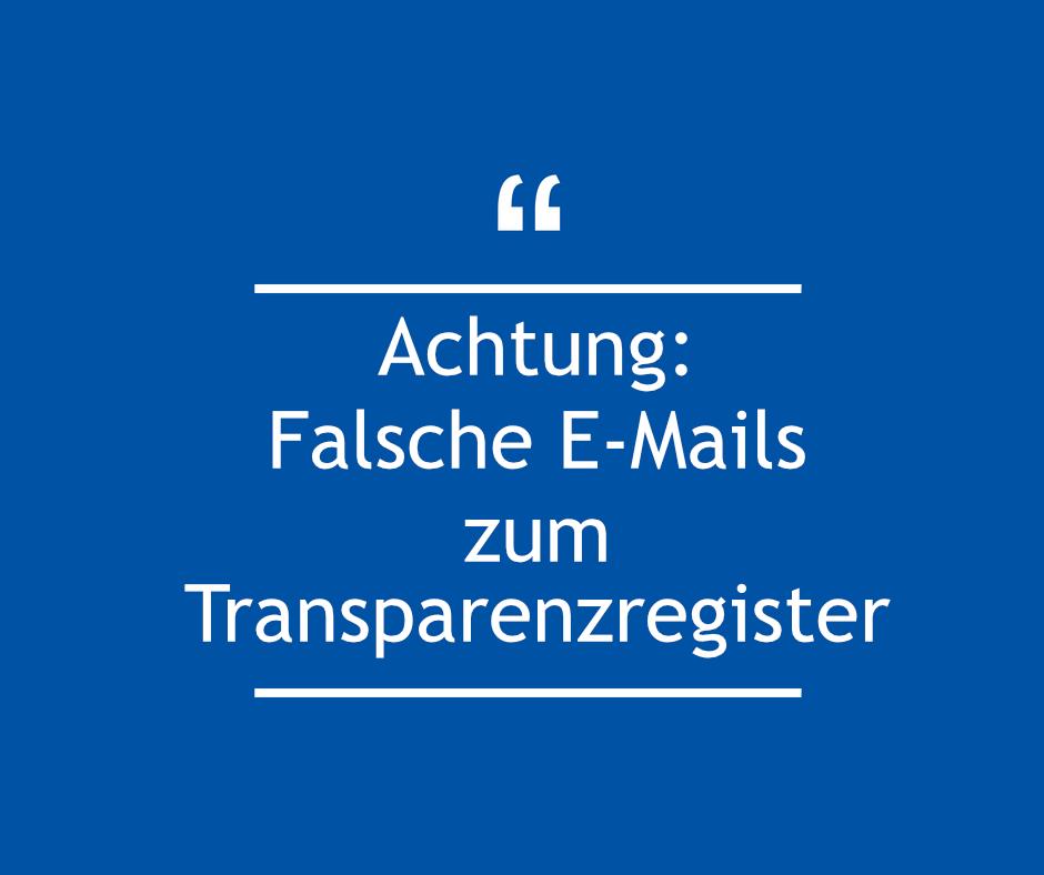 Falsche Emails zum Transparenzregister