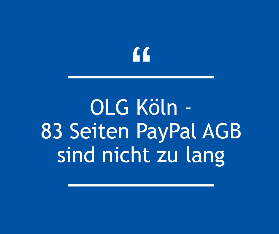 Paypal AGB sind nicht zu lang